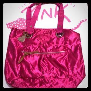 💕PINK VS Satin Tote Bag W/ Heart Charm VINTAGE 💕